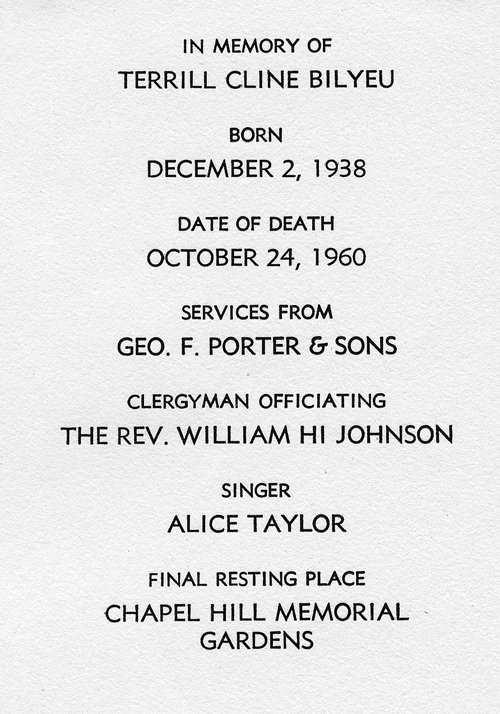 Terrill Bilyeu memorial service card